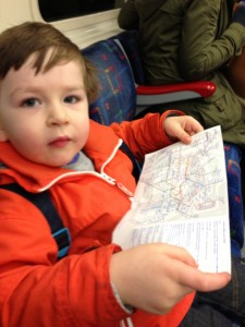 toddler with tube map