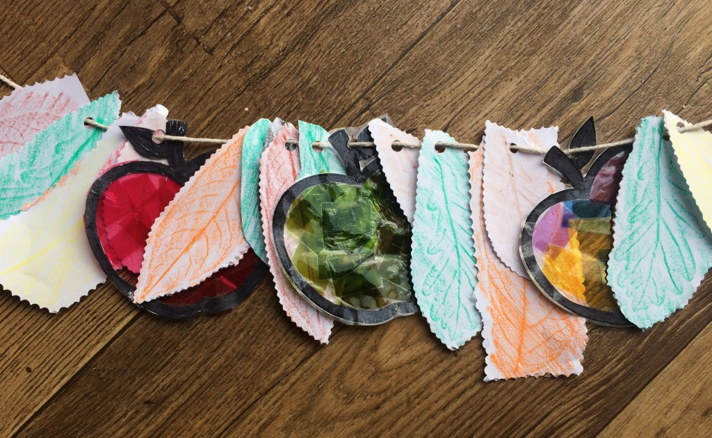leaf rubbings garland