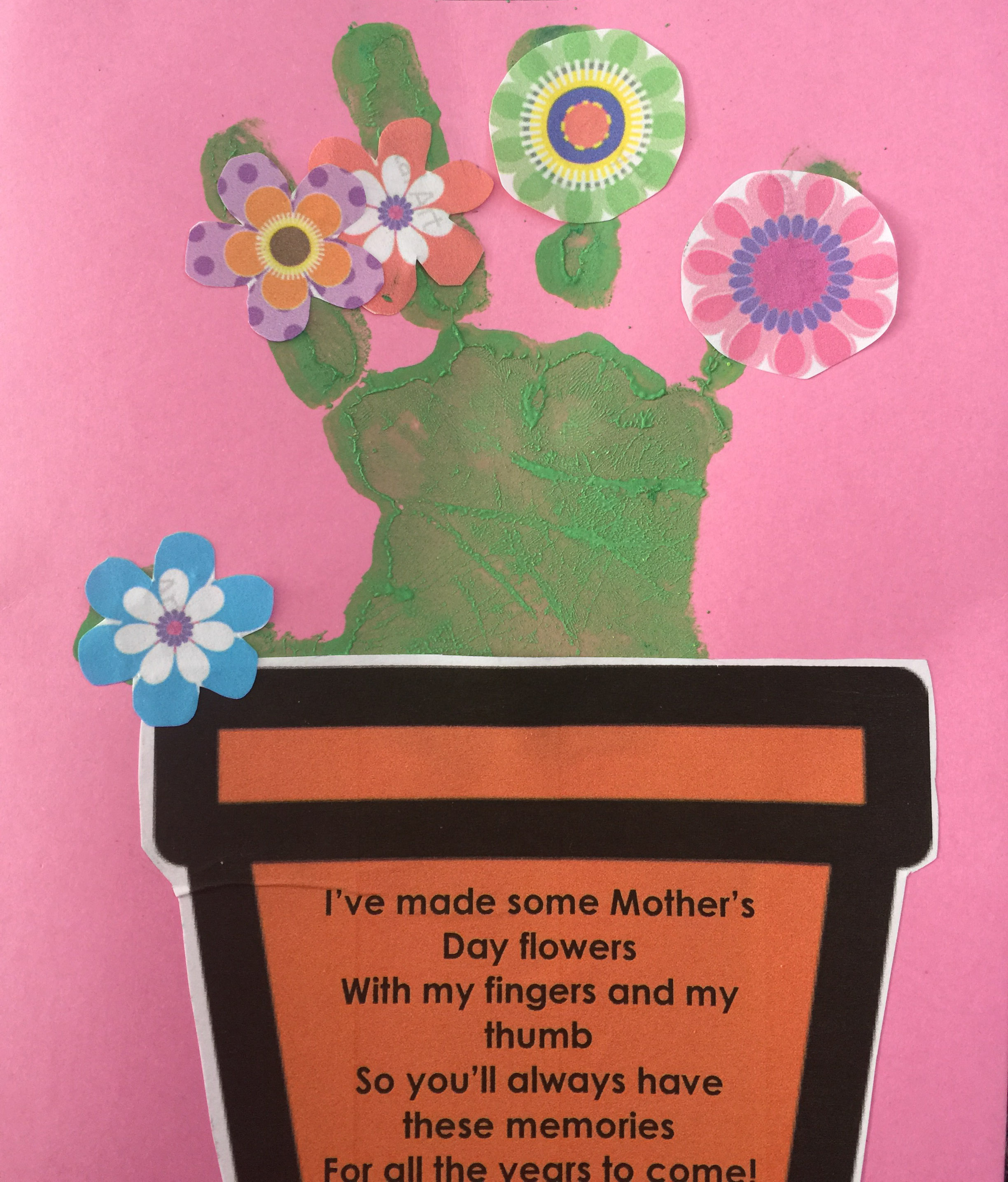Hand print Mothers Day cardTreading on Lego