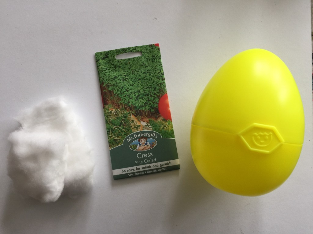 growing cress in Playmobil eggs