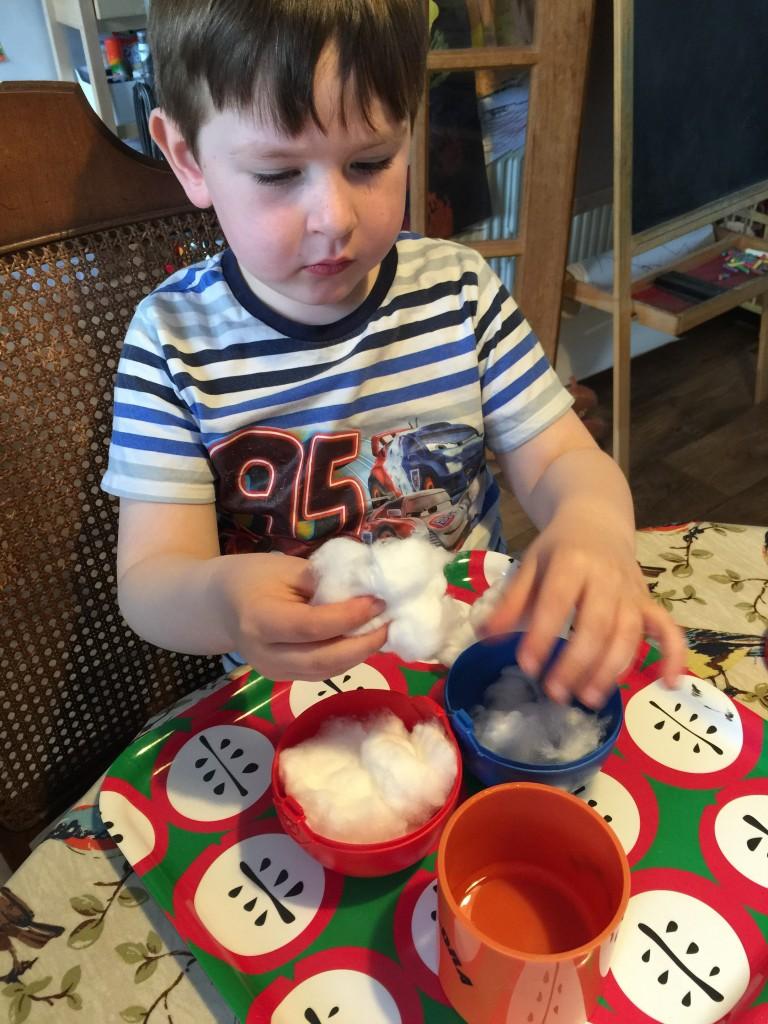 planting cress in Playmobil eggs