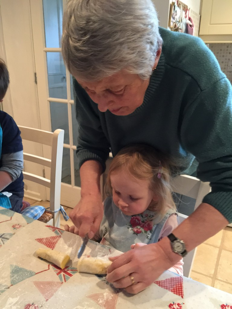 baking a cake with nanny