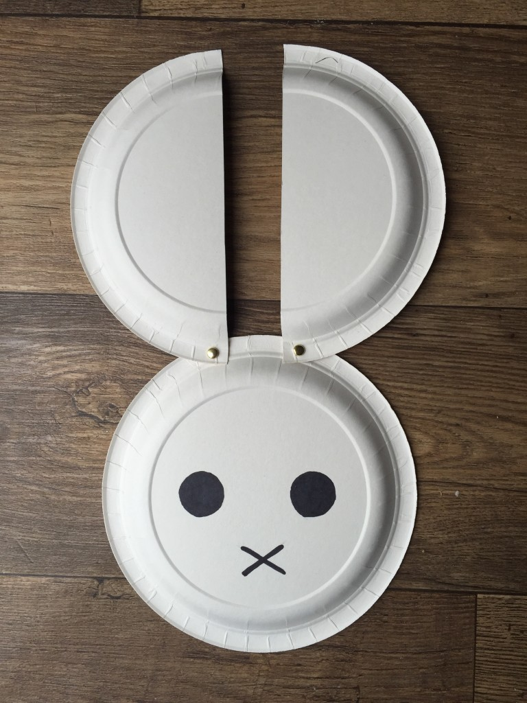 Paper plate Miffy craft for kids - treading on lego