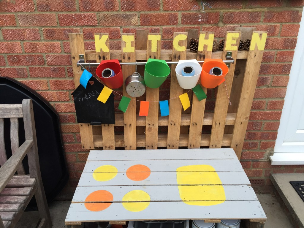 home made mud kitchen - treading on lego