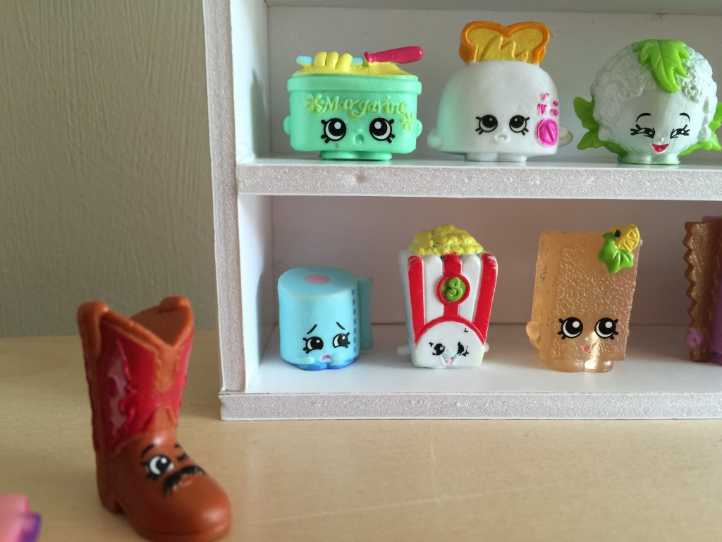 DIY Shopkins shelving unit - treading on lego