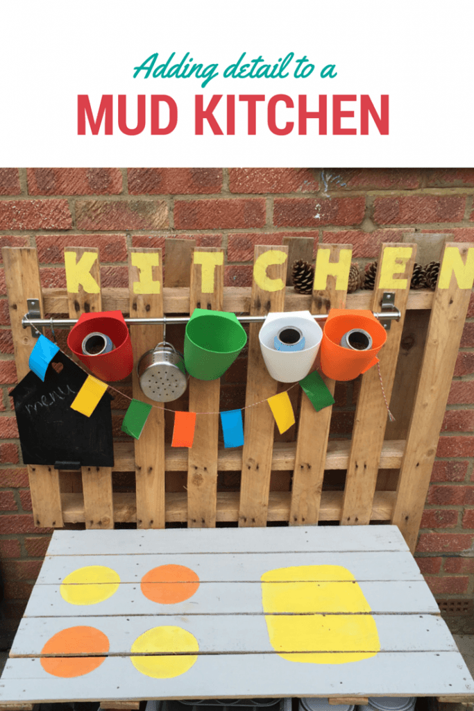 adding colour to a mud kitchen - treading on lego