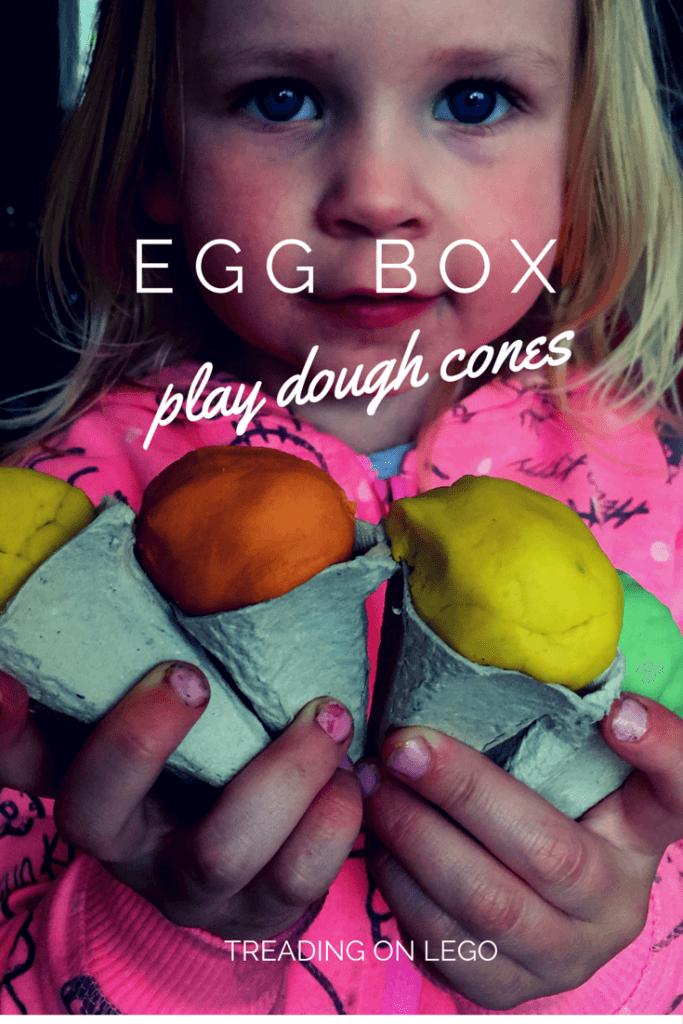 Egg box play dough cones - treading on lego