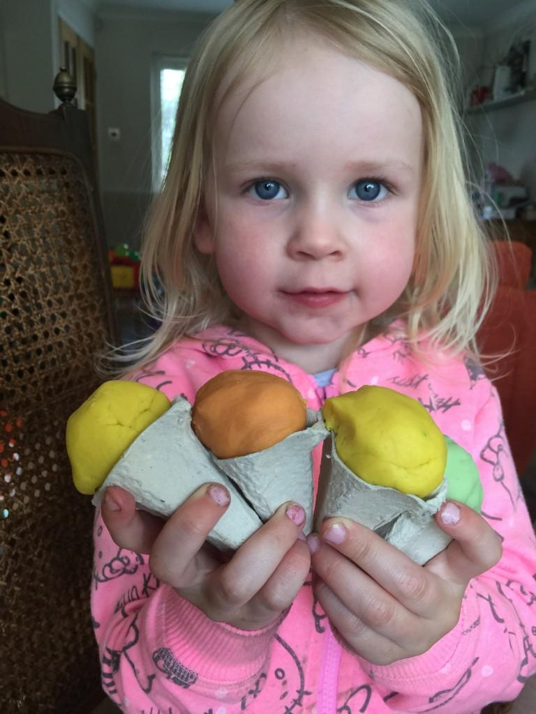 egg cone play dough