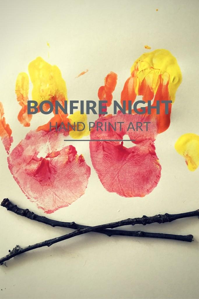 Bonfire Night hand print art