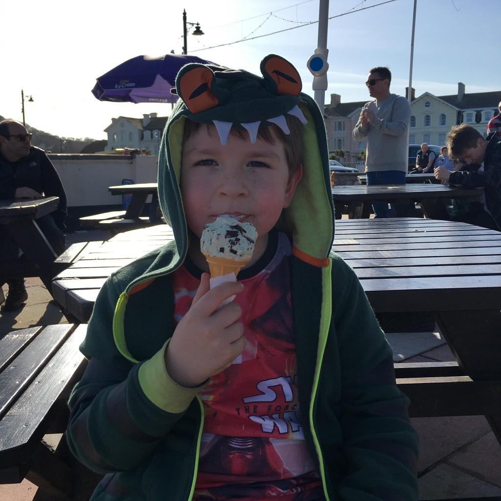 eating ice cream on the beach