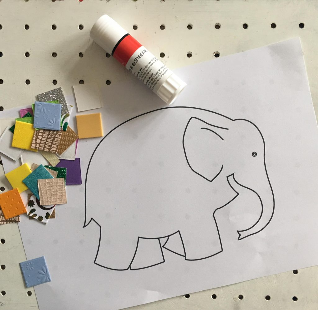 Elmer the Patchwork Elephant collage for kids